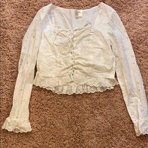 H&M white floral blouse